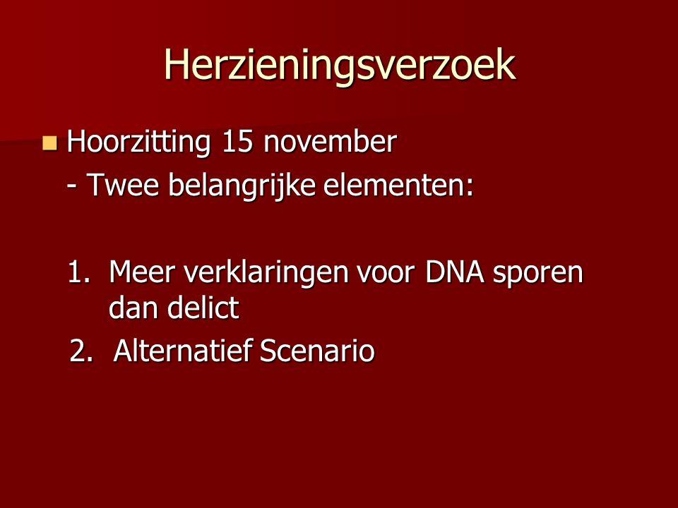 Herzieningsverzoek Hoorzitting 15 november Hoorzitting 15 november - Twee belangrijke elementen: 1.Meer verklaringen voor DNA sporen dan delict 2.