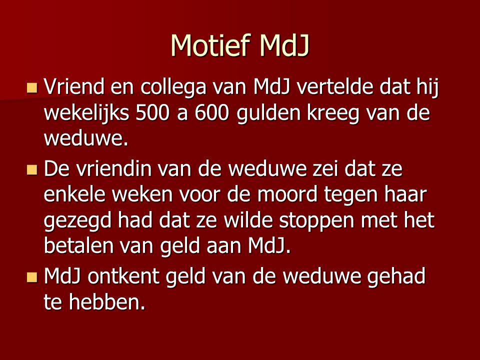 Motief MdJ Vriend en collega van MdJ vertelde dat hij wekelijks 500 a 600 gulden kreeg van de weduwe.