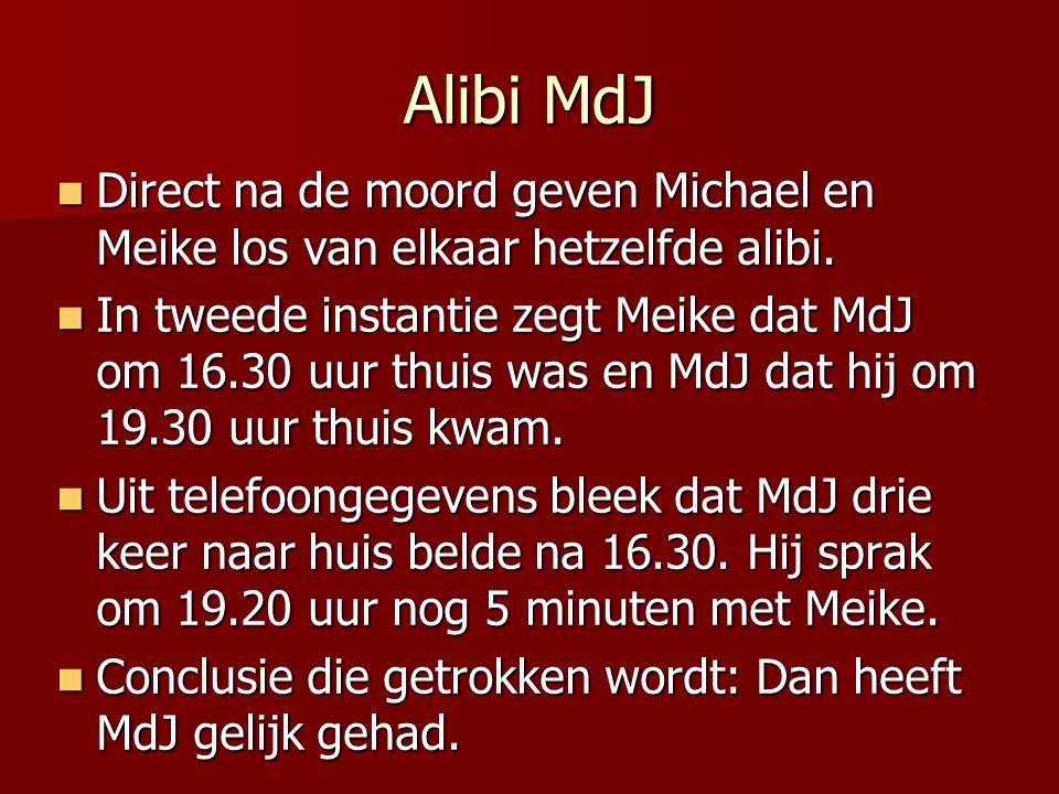 Alibi MdJ Direct na de moord geven Michael en Meike los van elkaar hetzelfde alibi.