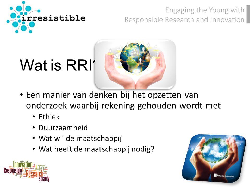 Wat is RRI? Een manier van denken bij het opzetten van onderzoek waarbij rekening gehouden wordt met Ethiek Duurzaamheid Wat wil de maatschappij Wat h