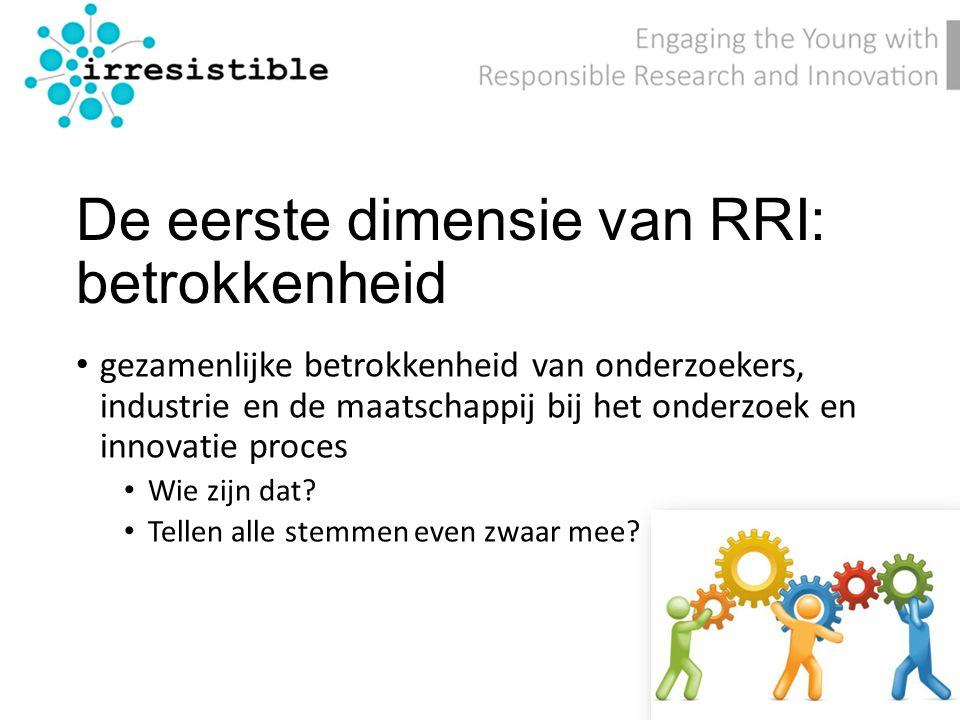 De eerste dimensie van RRI: betrokkenheid gezamenlijke betrokkenheid van onderzoekers, industrie en de maatschappij bij het onderzoek en innovatie proces Wie zijn dat.