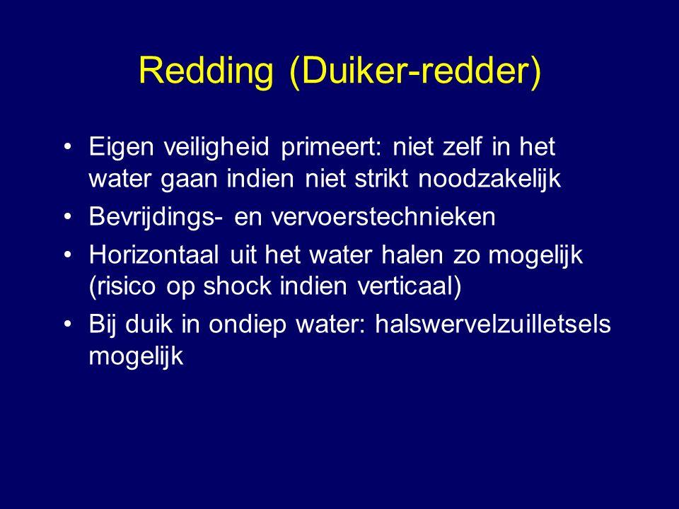 Redding (Duiker-redder) Eigen veiligheid primeert: niet zelf in het water gaan indien niet strikt noodzakelijk Bevrijdings- en vervoerstechnieken Horizontaal uit het water halen zo mogelijk (risico op shock indien verticaal) Bij duik in ondiep water: halswervelzuilletsels mogelijk