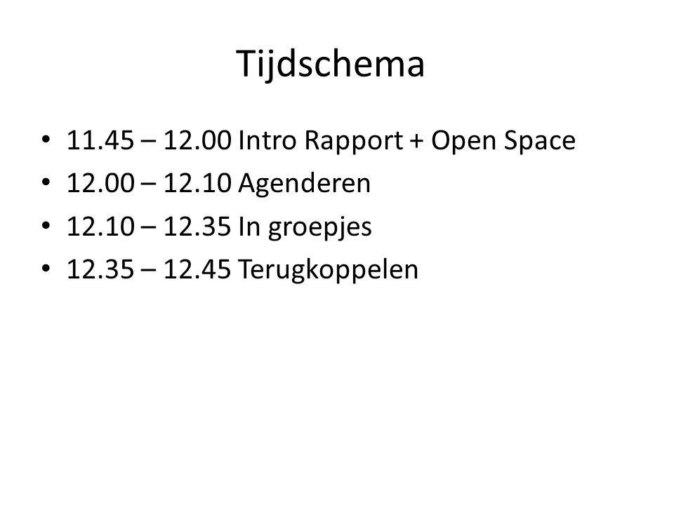 Tijdschema 11.45 – 12.00 Intro Rapport + Open Space 12.00 – 12.10 Agenderen 12.10 – 12.35 In groepjes 12.35 – 12.45 Terugkoppelen