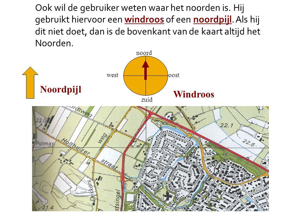 Ook wil de gebruiker weten waar het noorden is. Hij gebruikt hiervoor een windroos of een noordpijl. Als hij dit niet doet, dan is de bovenkant van de