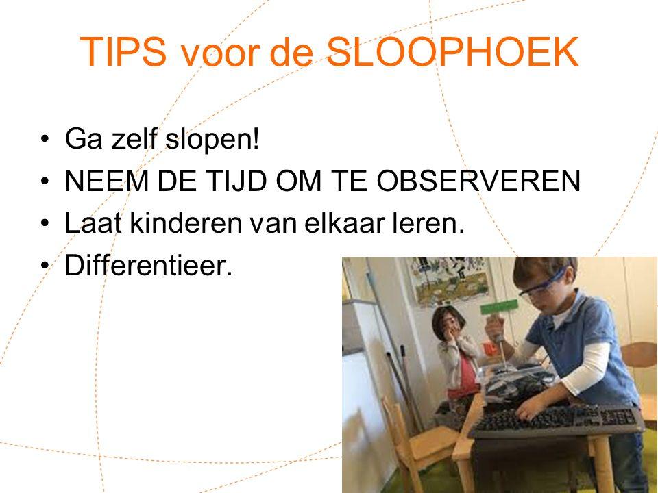 TIPS voor de SLOOPHOEK Ga zelf slopen! NEEM DE TIJD OM TE OBSERVEREN Laat kinderen van elkaar leren. Differentieer. !
