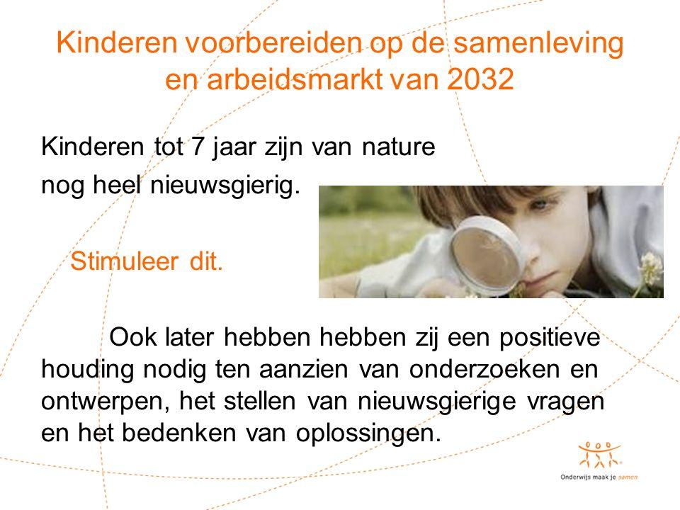 Kinderen voorbereiden op de samenleving en arbeidsmarkt van 2032 Kinderen tot 7 jaar zijn van nature nog heel nieuwsgierig. Stimuleer dit. Ook later h