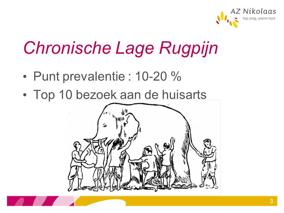 4 Chronische Lage Rugpijn Diagnose Oorzaak en aard van de pijn 85 % CLRP niet specifiek 15 % CLRP wél specifiek Waar te beginnen.