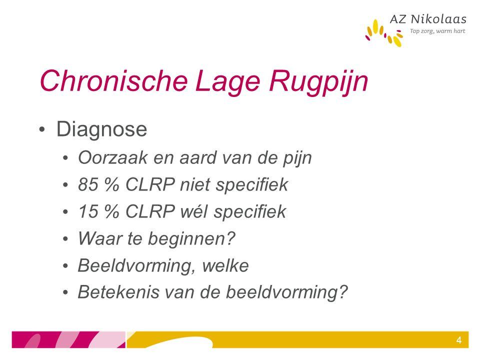 4 Chronische Lage Rugpijn Diagnose Oorzaak en aard van de pijn 85 % CLRP niet specifiek 15 % CLRP wél specifiek Waar te beginnen? Beeldvorming, welke