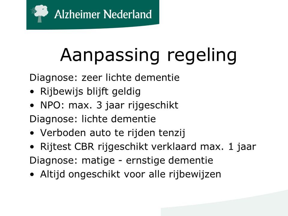 Aanpassing regeling Diagnose: zeer lichte dementie Rijbewijs blijft geldig NPO: max.
