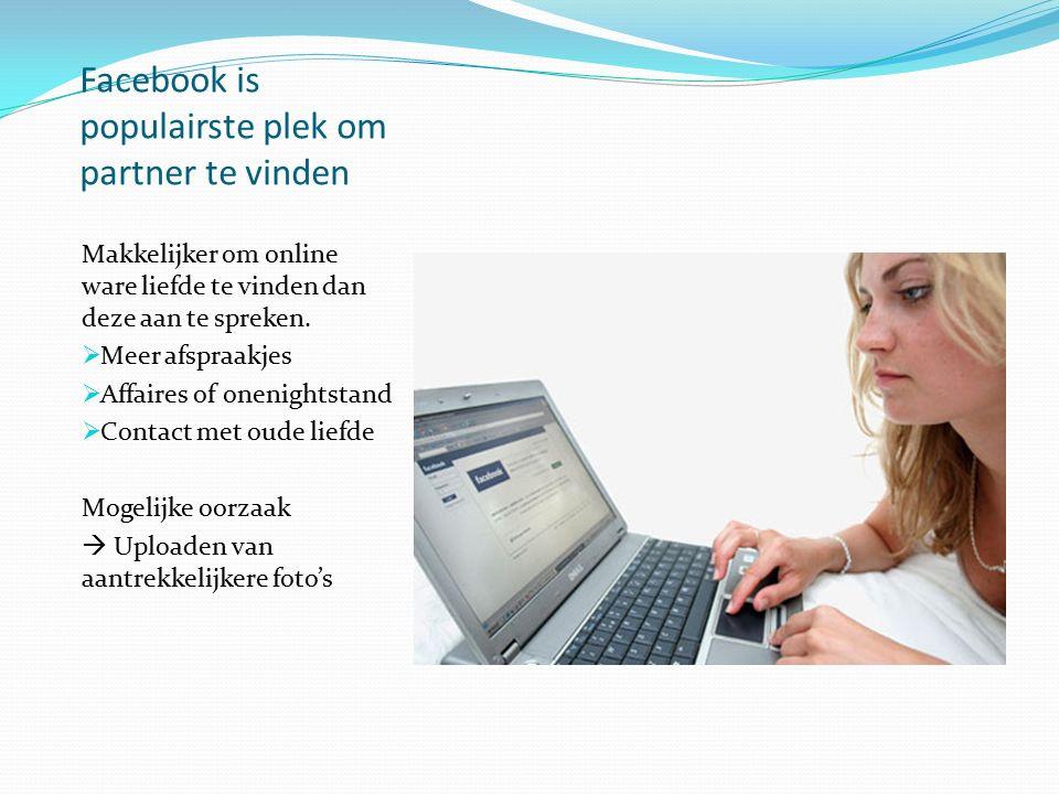 Facebook is populairste plek om partner te vinden Makkelijker om online ware liefde te vinden dan deze aan te spreken.