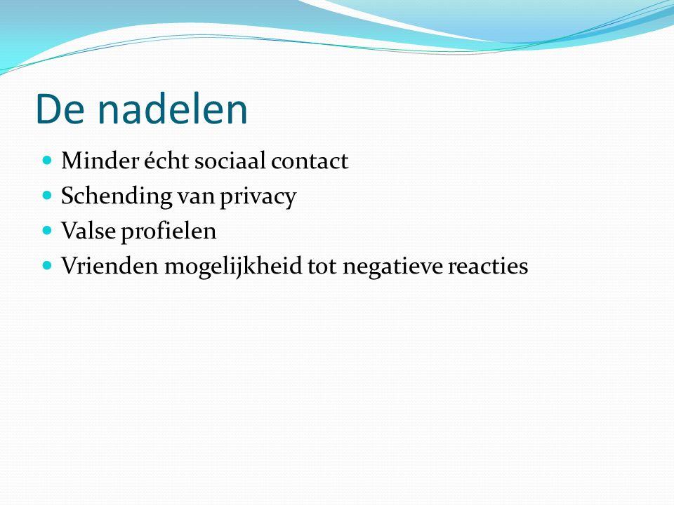 De nadelen Minder écht sociaal contact Schending van privacy Valse profielen Vrienden mogelijkheid tot negatieve reacties