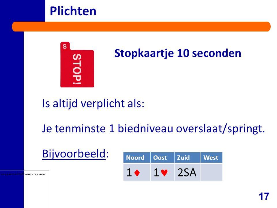 Plichten Stopkaartje 10 seconden Is altijd verplicht als: Je tenminste 1 biedniveau overslaat/springt.