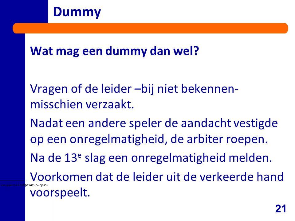 Dummy Wat mag een dummy dan wel. Vragen of de leider –bij niet bekennen- misschien verzaakt.