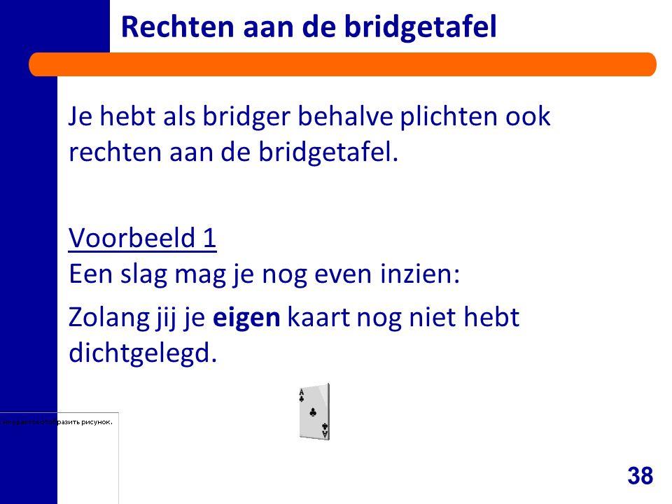 Rechten aan de bridgetafel Je hebt als bridger behalve plichten ook rechten aan de bridgetafel.