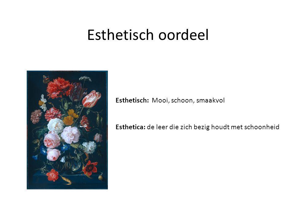 Esthetisch oordeel Esthetisch: Mooi, schoon, smaakvol Esthetica: de leer die zich bezig houdt met schoonheid