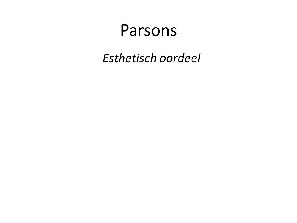 Parsons Esthetisch oordeel
