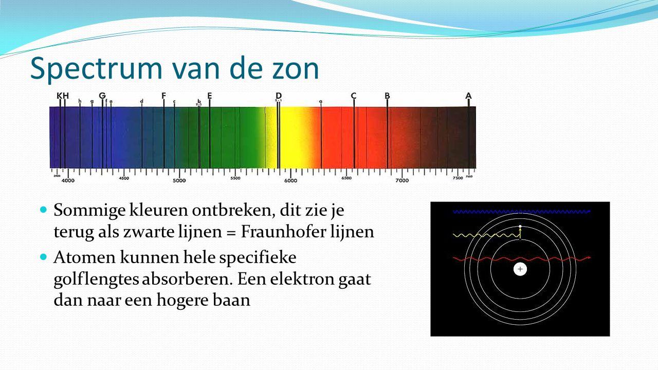 Spectrum van de zon Sommige kleuren ontbreken, dit zie je terug als zwarte lijnen = Fraunhofer lijnen Atomen kunnen hele specifieke golflengtes absorb