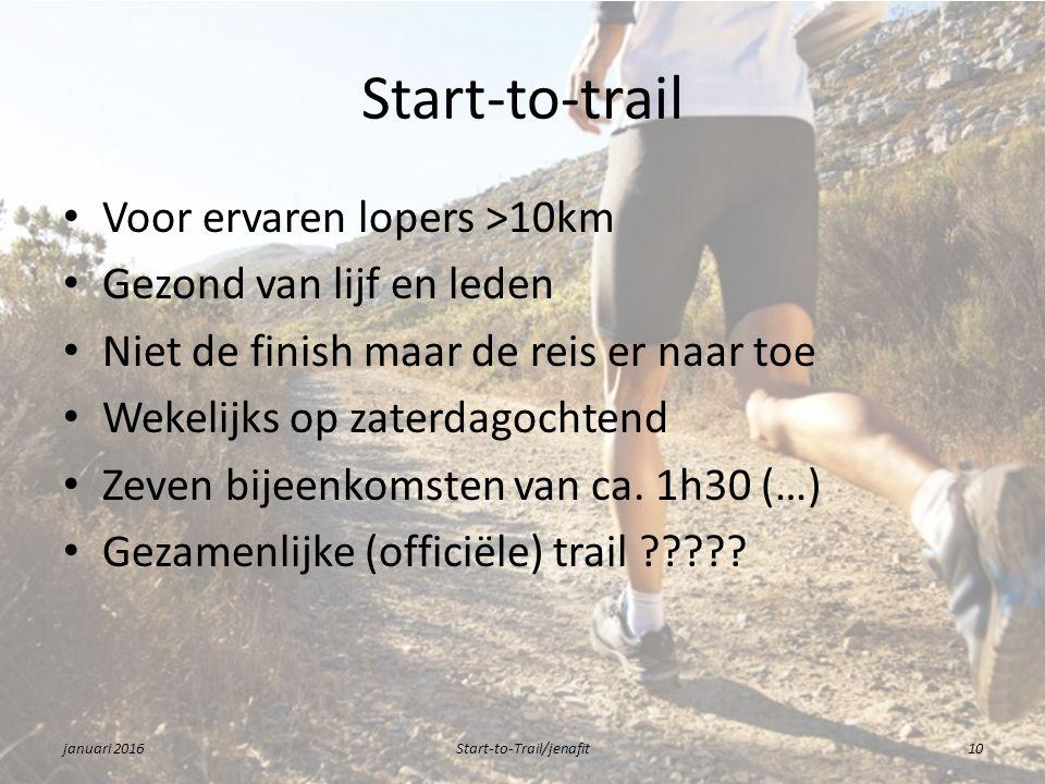 Start-to-trail Voor ervaren lopers >10km Gezond van lijf en leden Niet de finish maar de reis er naar toe Wekelijks op zaterdagochtend Zeven bijeenkomsten van ca.