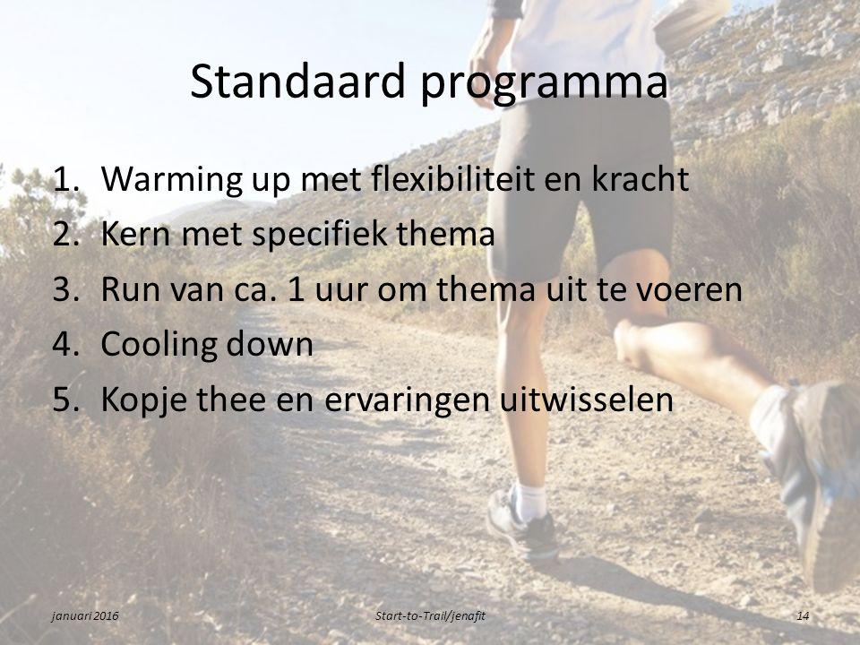 Standaard programma 1.Warming up met flexibiliteit en kracht 2.Kern met specifiek thema 3.Run van ca.