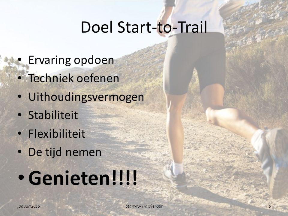 Doel Start-to-Trail Ervaring opdoen Techniek oefenen Uithoudingsvermogen Stabiliteit Flexibiliteit De tijd nemen Genieten!!!.