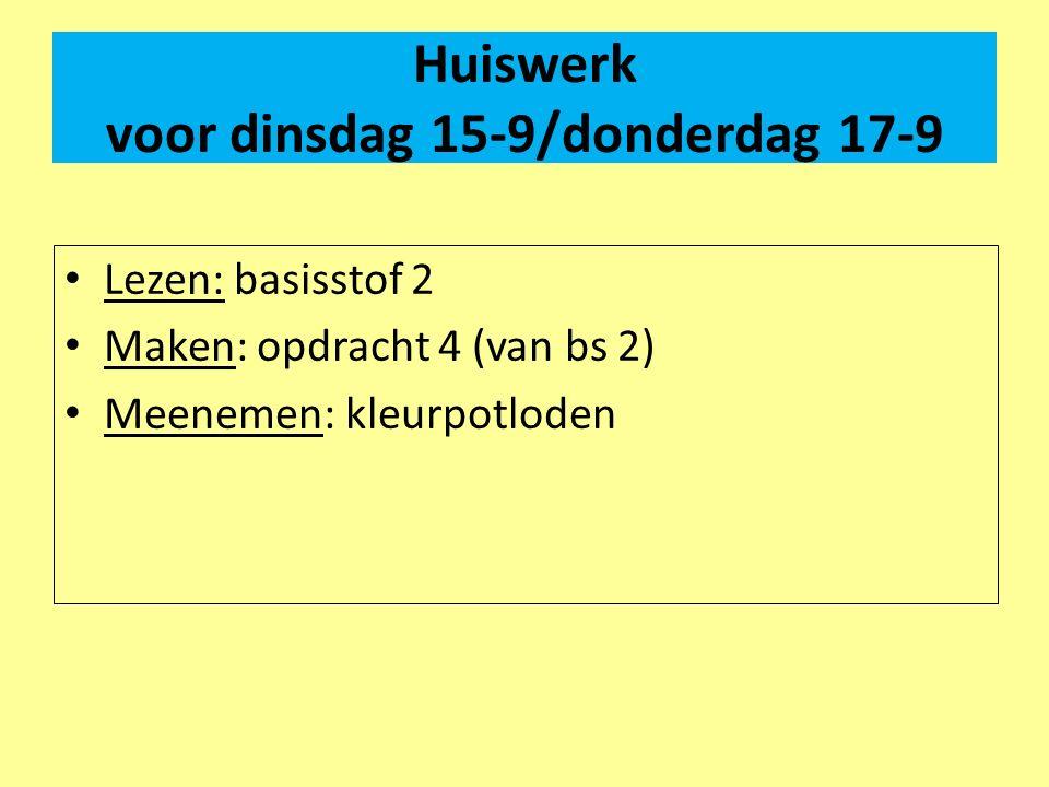 Huiswerk voor dinsdag 15-9/donderdag 17-9 Lezen: basisstof 2 Maken: opdracht 4 (van bs 2) Meenemen: kleurpotloden