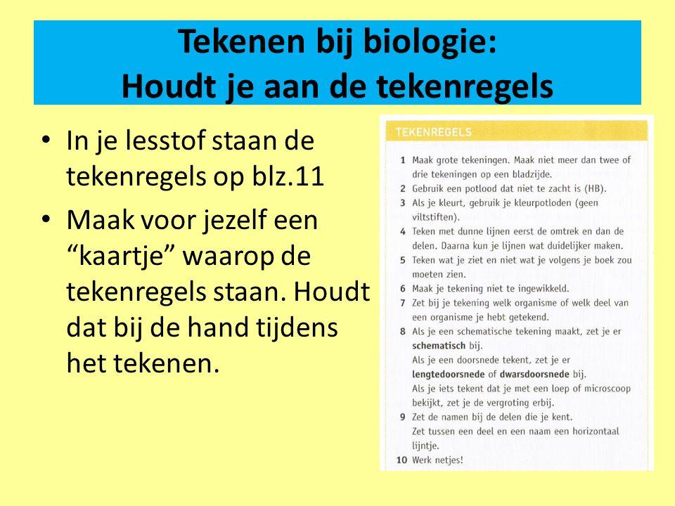 """Tekenen bij biologie: Houdt je aan de tekenregels In je lesstof staan de tekenregels op blz.11 Maak voor jezelf een """"kaartje"""" waarop de tekenregels st"""