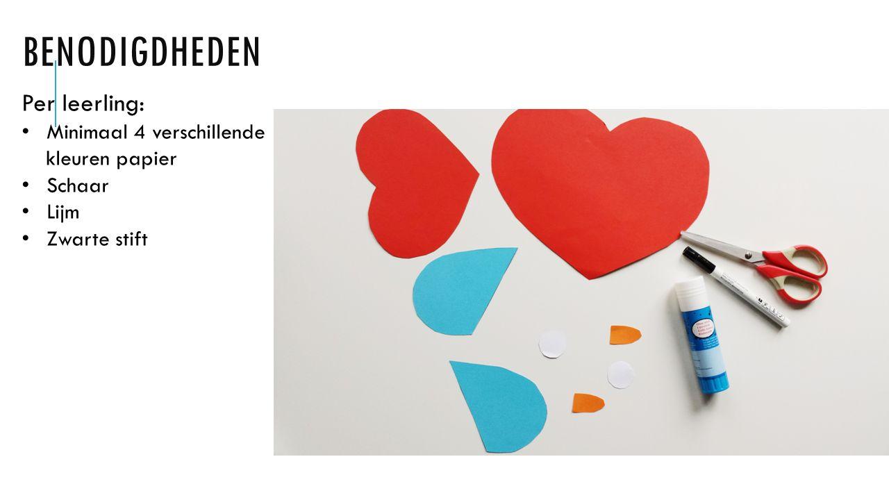 BENODIGDHEDEN Per leerling: Minimaal 4 verschillende kleuren papier Schaar Lijm Zwarte stift