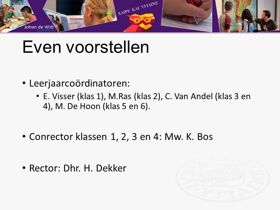 Even voorstellen Leerjaarcoördinatoren: E. Visser (klas 1), M.Ras (klas 2), C. Van Andel (klas 3 en 4), M. De Hoon (klas 5 en 6). Conrector klassen 1,