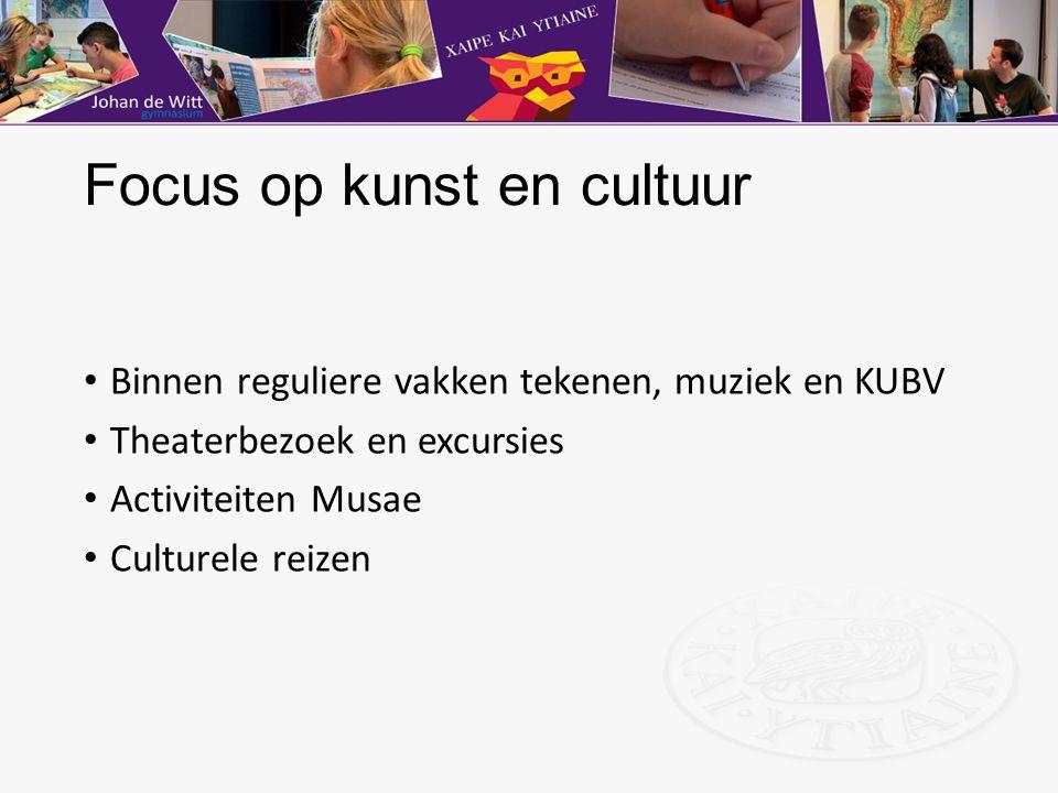 Focus op kunst en cultuur Binnen reguliere vakken tekenen, muziek en KUBV Theaterbezoek en excursies Activiteiten Musae Culturele reizen
