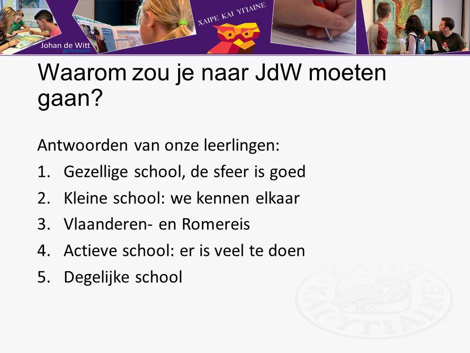 Waarom zou je naar JdW moeten gaan? Antwoorden van onze leerlingen: 1.Gezellige school, de sfeer is goed 2.Kleine school: we kennen elkaar 3.Vlaandere
