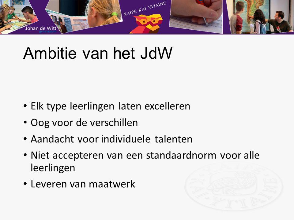 Ambitie van het JdW Elk type leerlingen laten excelleren Oog voor de verschillen Aandacht voor individuele talenten Niet accepteren van een standaardn