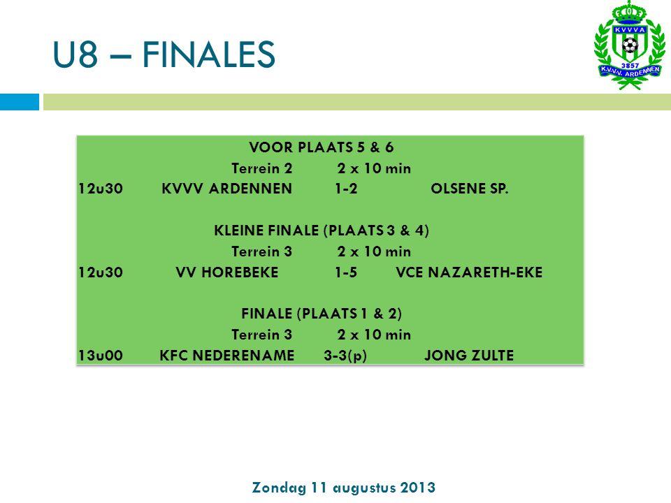 U10 – poule 1 (terrein 2) Zondag 11 augustus 2013 POULE 1 U10 PuntenVTS 1SPARTA WORTEGEM662+4 2CERCLE MELLE335-2 3KVVV ARDENNEN002-2