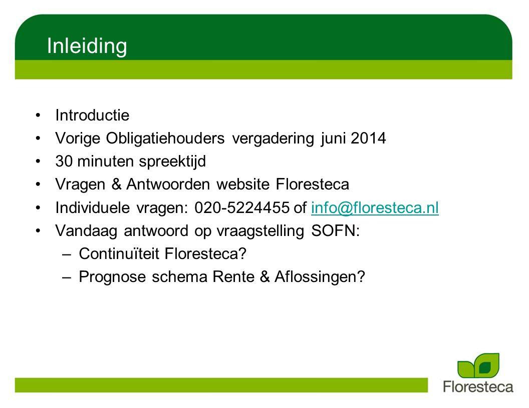 Inleiding Introductie Vorige Obligatiehouders vergadering juni 2014 30 minuten spreektijd Vragen & Antwoorden website Floresteca Individuele vragen: 0