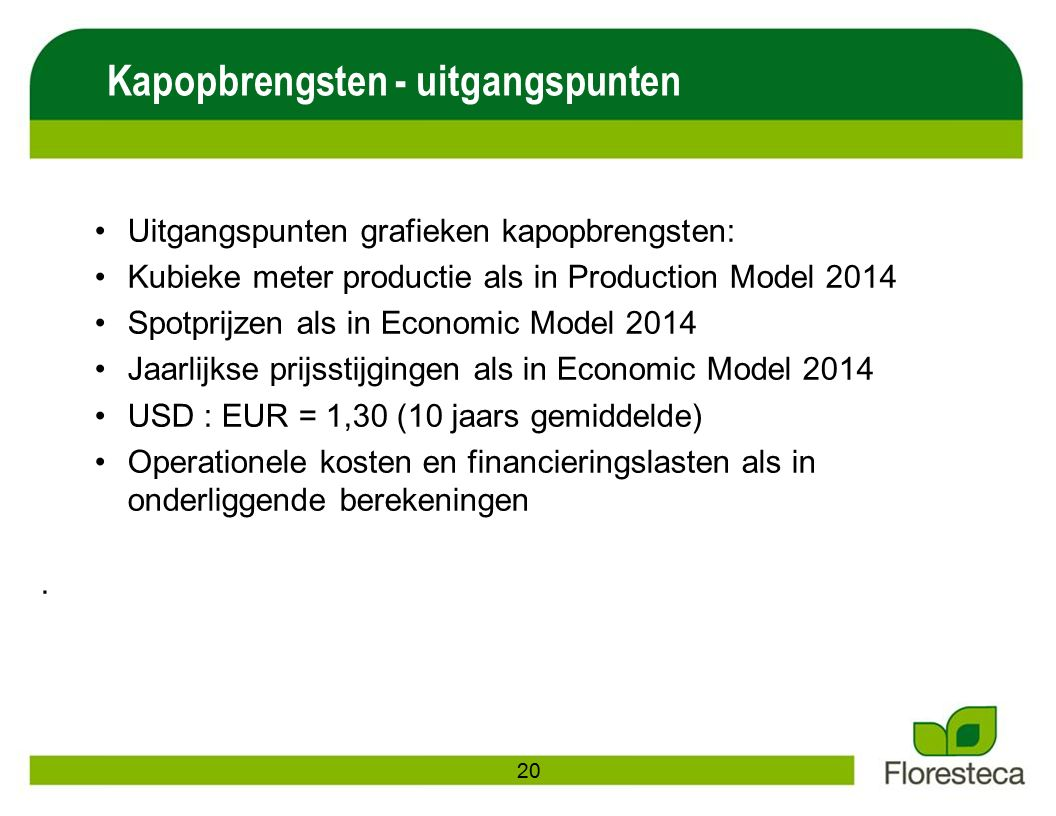 Uitgangspunten grafieken kapopbrengsten: Kubieke meter productie als in Production Model 2014 Spotprijzen als in Economic Model 2014 Jaarlijkse prijsstijgingen als in Economic Model 2014 USD : EUR = 1,30 (10 jaars gemiddelde) Operationele kosten en financieringslasten als in onderliggende berekeningen.