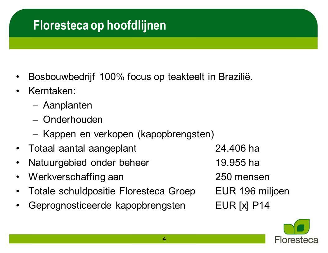 Bosbouwbedrijf 100% focus op teakteelt in Brazilië. Kerntaken: –Aanplanten –Onderhouden –Kappen en verkopen (kapopbrengsten) Totaal aantal aangeplant