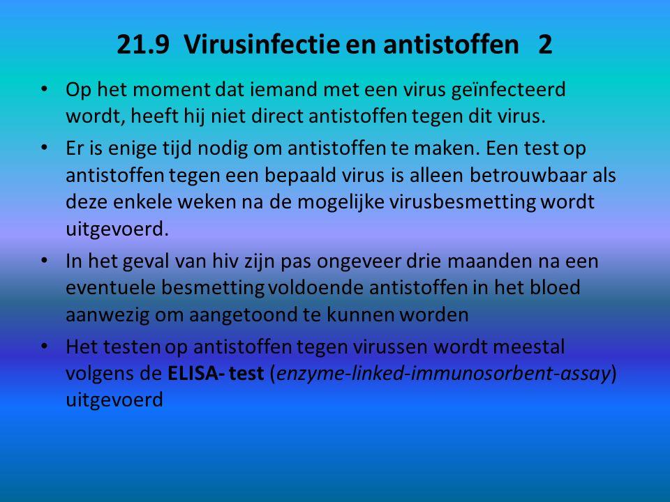 21.9 Virusinfectie en antistoffen 2 Op het moment dat iemand met een virus geïnfecteerd wordt, heeft hij niet direct antistoffen tegen dit virus.