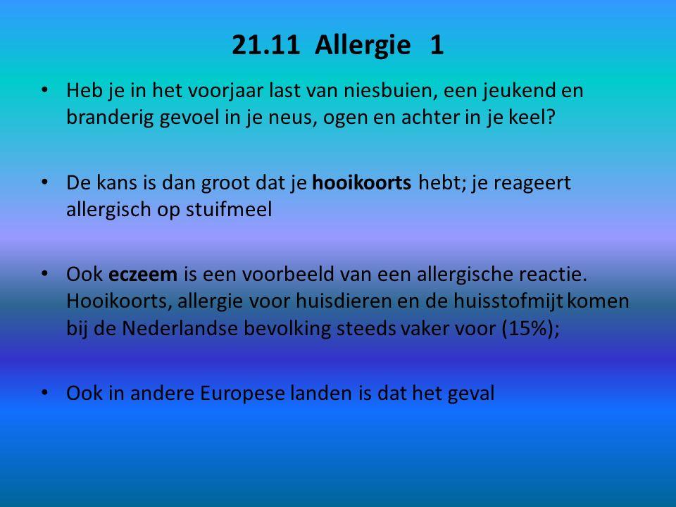 21.11 Allergie 1 Heb je in het voorjaar last van niesbuien, een jeukend en branderig gevoel in je neus, ogen en achter in je keel? De kans is dan groo
