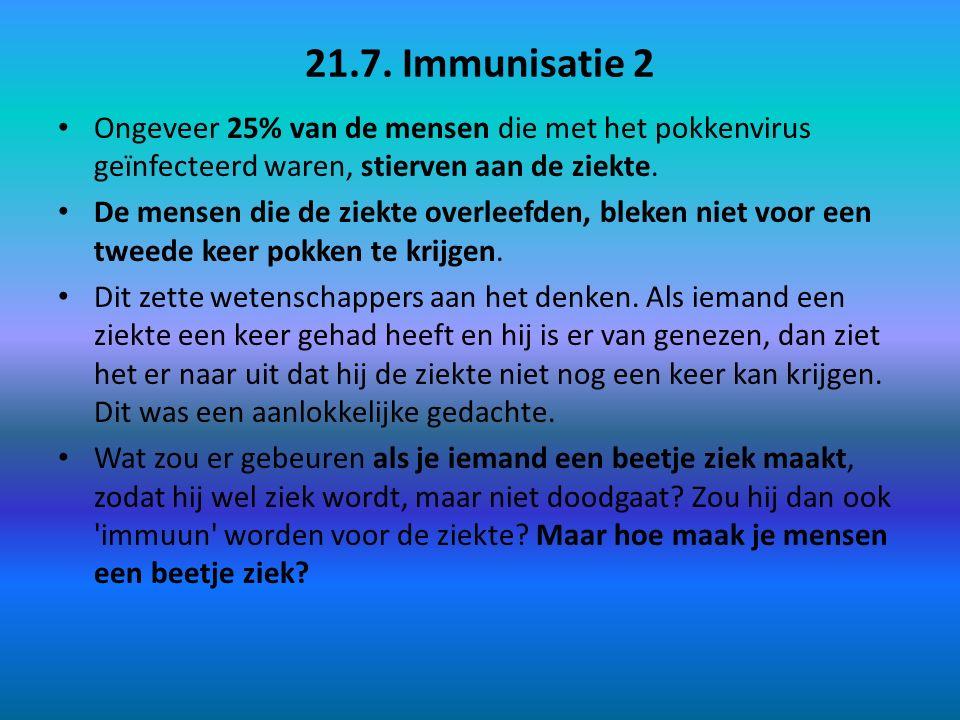 21.7. Immunisatie 2 Ongeveer 25% van de mensen die met het pokkenvirus geïnfecteerd waren, stierven aan de ziekte. De mensen die de ziekte overleefden