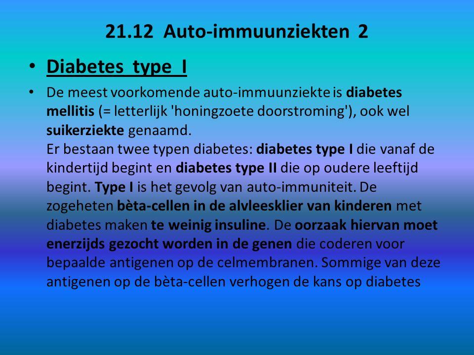 21.12 Auto-immuunziekten 2 Diabetes type I De meest voorkomende auto-immuunziekte is diabetes mellitis (= letterlijk honingzoete doorstroming ), ook wel suikerziekte genaamd.