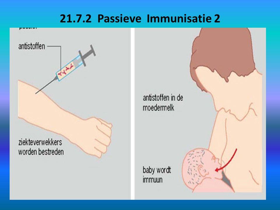 21.7.2 Passieve Immunisatie 2 Natuurlijke passieve immunisatie: voorbeeld Pneumococcen (groep bacteriën) veroorzaakt in ontwikkelingslanden longontsteking.