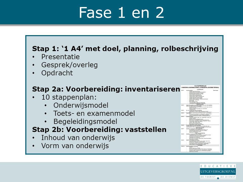 Fase 1 en 2 Stap 1: '1 A4' met doel, planning, rolbeschrijving Presentatie Gesprek/overleg Opdracht Stap 2a: Voorbereiding: inventariseren 10 stappenp