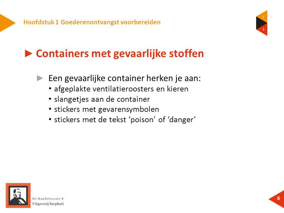 Hoofdstuk 1 Goederenontvangst voorbereiden 6 ► Containers met gevaarlijke stoffen ► Een gevaarlijke container herken je aan: afgeplakte ventilatieroos