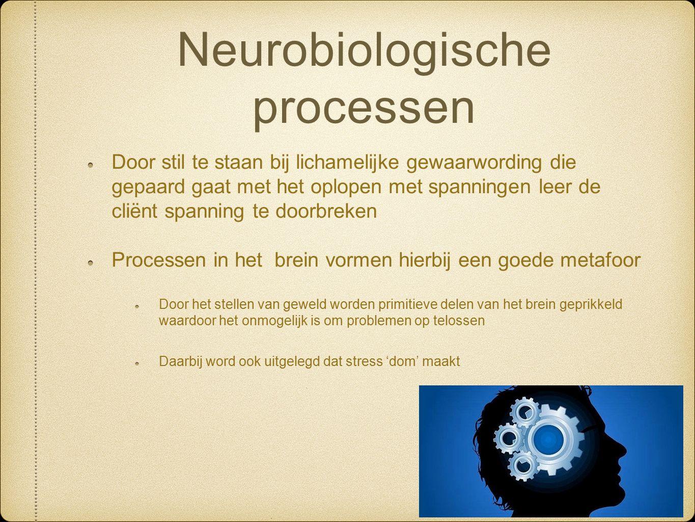 Neurobiologische processen Door stil te staan bij lichamelijke gewaarwording die gepaard gaat met het oplopen met spanningen leer de cliënt spanning t