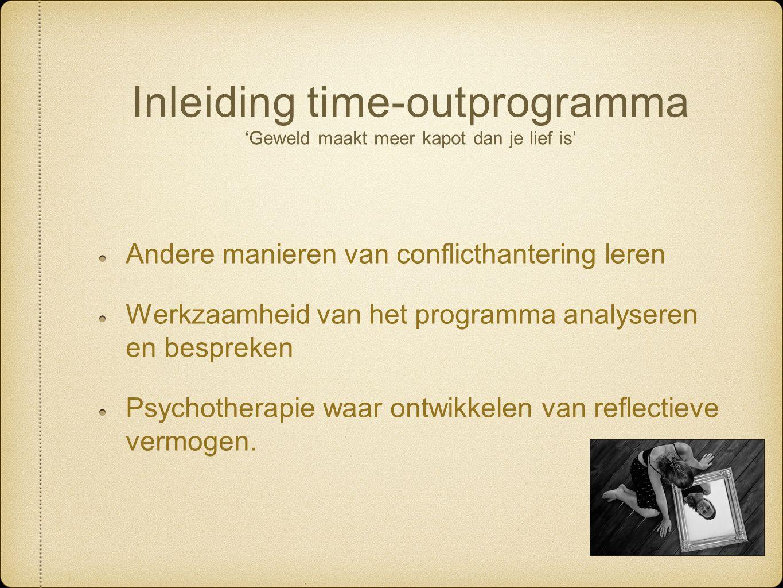 Inleiding time-outprogramma 'Geweld maakt meer kapot dan je lief is' Andere manieren van conflicthantering leren Werkzaamheid van het programma analys