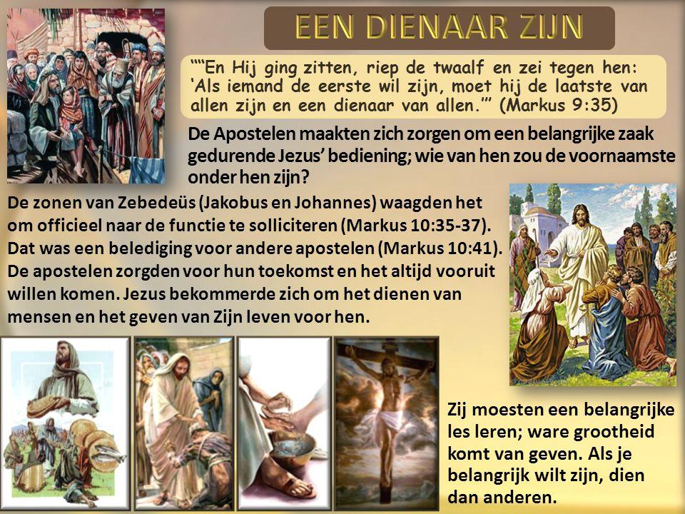 En Hij ging zitten, riep de twaalf en zei tegen hen: 'Als iemand de eerste wil zijn, moet hij de laatste van allen zijn en een dienaar van allen.' (Markus 9:35) De zonen van Zebedeüs (Jakobus en Johannes) waagden het om officieel naar de functie te solliciteren (Markus 10:35-37).