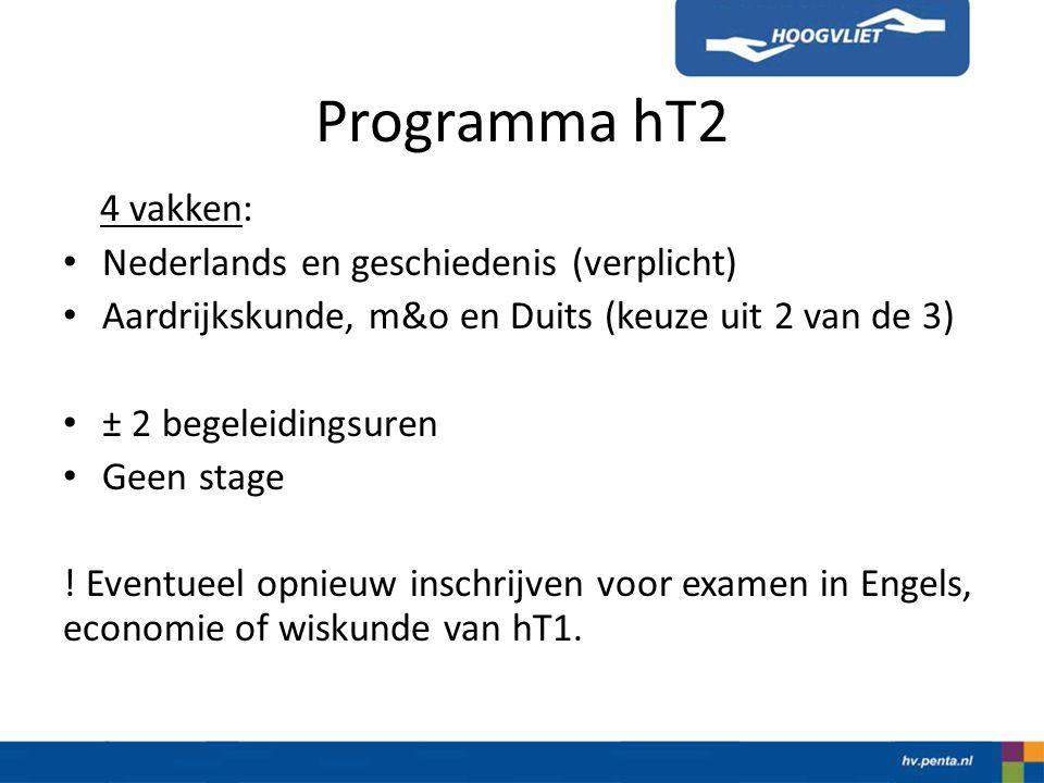 Programma hT2 4 vakken: Nederlands en geschiedenis (verplicht) Aardrijkskunde, m&o en Duits (keuze uit 2 van de 3) ± 2 begeleidingsuren Geen stage .