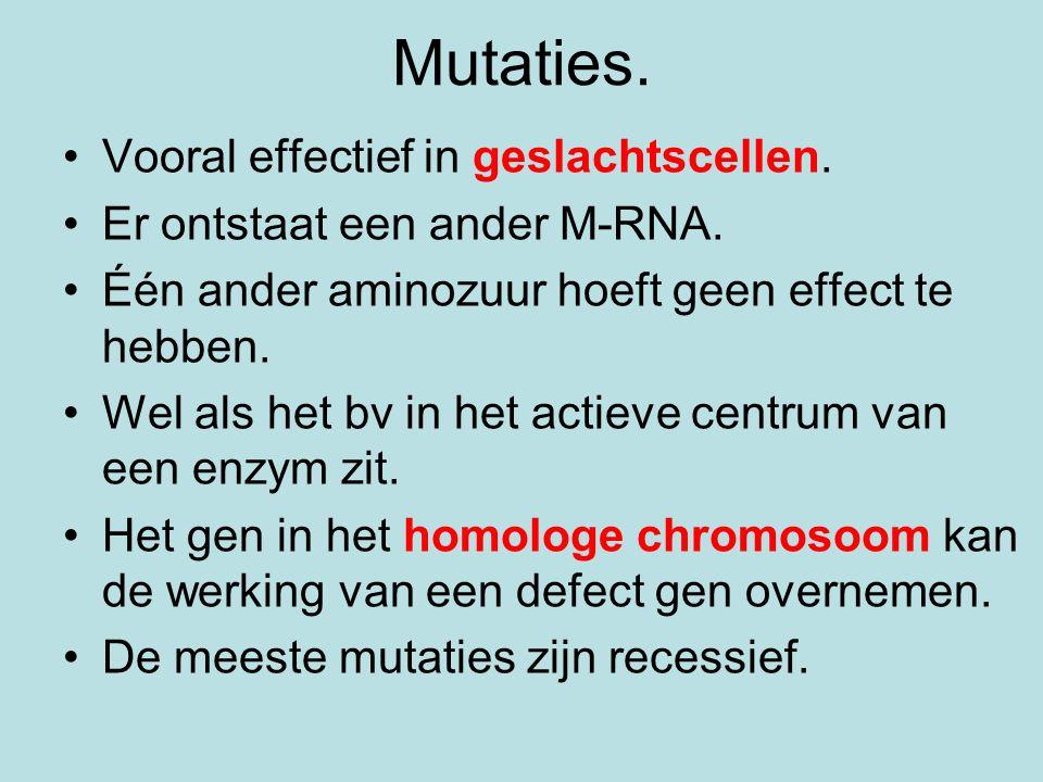Mutaties. Vooral effectief in geslachtscellen. Er ontstaat een ander M-RNA. Één ander aminozuur hoeft geen effect te hebben. Wel als het bv in het act
