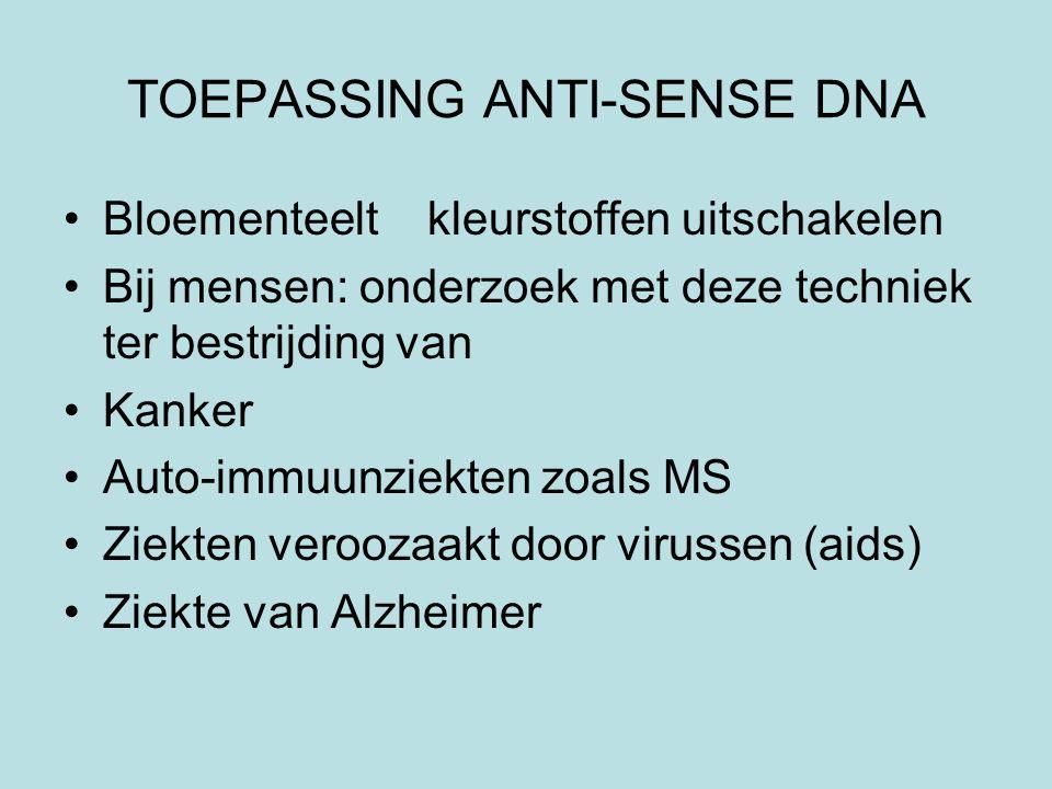TOEPASSING ANTI-SENSE DNA Bloementeelt kleurstoffen uitschakelen Bij mensen: onderzoek met deze techniek ter bestrijding van Kanker Auto-immuunziekten zoals MS Ziekten veroozaakt door virussen (aids) Ziekte van Alzheimer