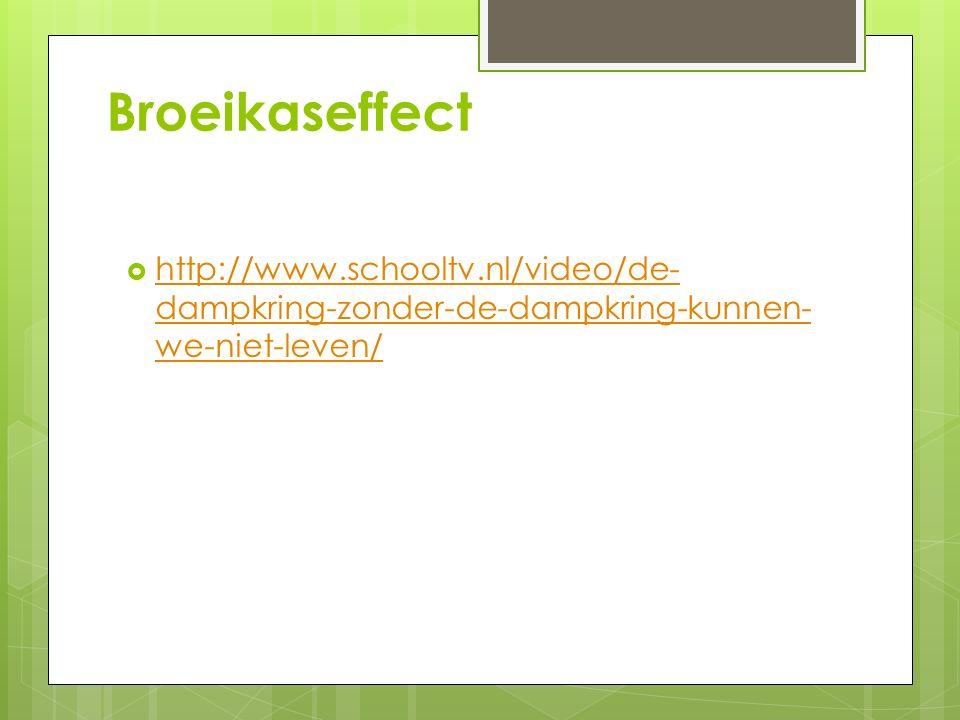 Broeikaseffect  http://www.schooltv.nl/video/de- dampkring-zonder-de-dampkring-kunnen- we-niet-leven/ http://www.schooltv.nl/video/de- dampkring-zonder-de-dampkring-kunnen- we-niet-leven/