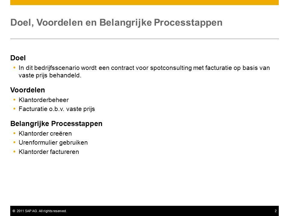 ©2011 SAP AG. All rights reserved.2 Doel, Voordelen en Belangrijke Processtappen Doel  In dit bedrijfsscenario wordt een contract voor spotconsulting